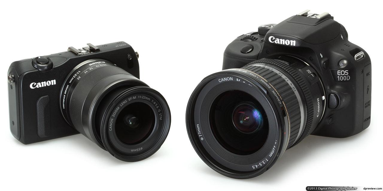 11-22mm镜头的eos m微单与安装了ef-s 10-22mm镜头的eos 100d单反比大